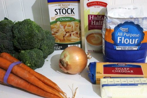 Ingredients for Broccoli Cheddar Soup Bowls